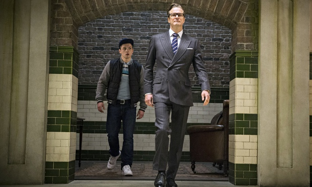 Colin Firth in Kingsman: The Secret Service, with Taron Egerton